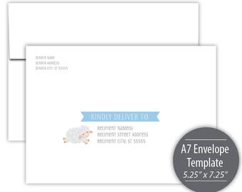 Little Lamb Printable A7 Envelope Template --- Instant Download --- Printable --- Blue --- B501-IE2-D