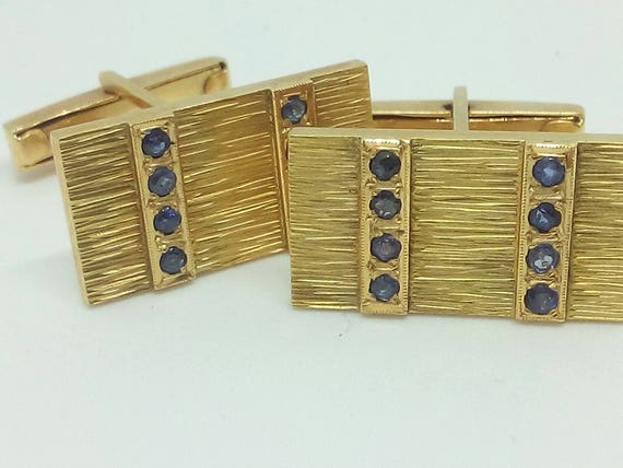 Vintage 18k yellow gold Cufflinks (cuff links) with Sapphires - Christmas - Valentine's - Wedding -Gift for him