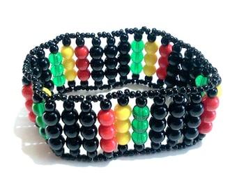 Rasta Beadwoven Bracelet, Colorful Red, Yellow, Green, Black Wide Band Stretch Bracelet, Rasta Colors, Reggae Jewelry, NonMetal Nonallergic