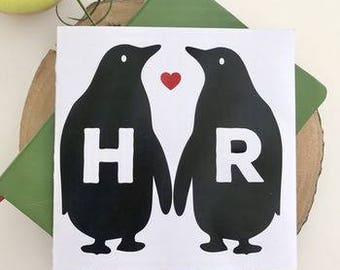 Personalised Penguin Love Valentines Card