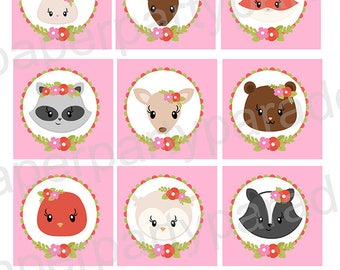 DIY Woodland Creatures Party- Gift Tags, Cupcake Toppers, Baby Shower - Birthday Party - Fox - Deer - Hedgehog - Owl Print At Home