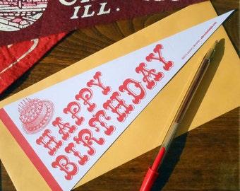 letterpress happy birthday vintage pennant flat card pastel purple & red birthday card or decoration
