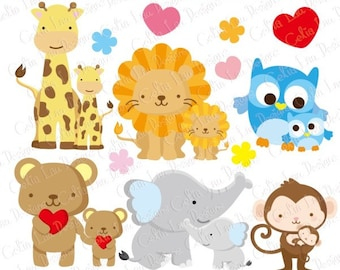 Baby Animals Clipart, Baby Love Clipart , Dad and Baby / Mom and Baby / elephant, giraffe, lion, bear, monkey, owl clipart (A022)