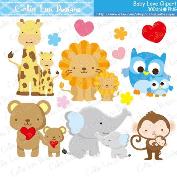 Baby Animals Clipart Baby Love Clipart Dad and Baby / Mom