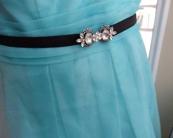 Prom Belt, Bridal Belt, Stretch Belt, Elastic Belt, Skinny Belt, Bridesmaids Belt, Party Belt, Floral Rhinestone Belt, Silver,