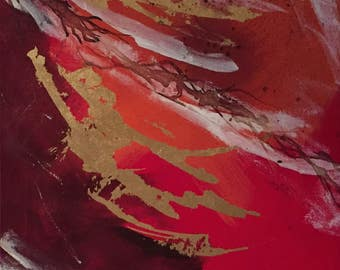 Decorative Gold Red Original painting