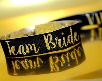 Team Bride Black & Gold Bachelorette Hen Party Wristband Favours  - Hen Party - Wristbands - Bachelorette Party - Hen Party Favours
