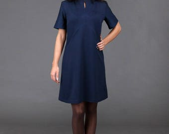 Blue Dress/ Minimalistic/ Midi Dress with bell shaped Sleeves and Pockets/ high-quality/ handmade/ Sphinx Design.lt