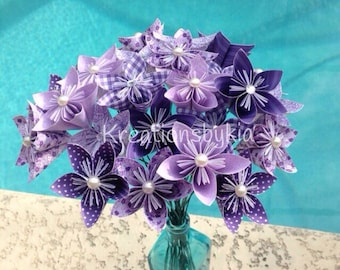 Purple Passion - Origami Paper Flowers with Stem / wedding decorations, origami, kusudama, paper flowers, centerpiece, origami flowers