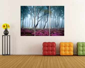 Fogy Forest wall art, extra large wall art, autumn tree canvas art, canvas print, canvas wall art, extra large wall art, fine art print, 682