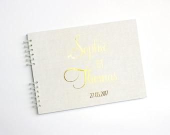Livre d'or mariage 100 pages blanc et doré-Livre d'or mariage personnalisé-Livre d'or mariage romantique-Mariage rustique