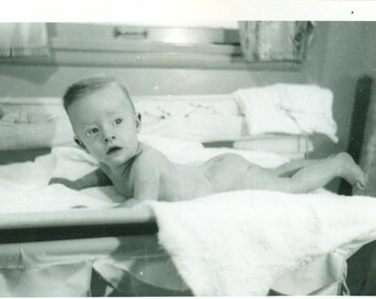 1940s Baby Boy with Perfect Hair Tummy Time Cheeks Up 40s Vintage Photograph Black White Photo