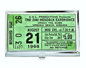 Jimi Hendrix Vintage Concert Ticket Business Card Case, Sublimation, Permanent Image, Silver Tone Finish, Black Velvet Lining, Customize
