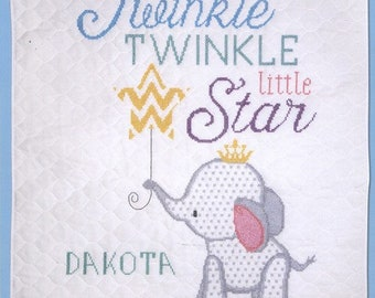 Twinkle Twinkle Elephant baby crib quilt