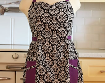 Retro Apron Plus Size Sweetheart Neckline Black and White Floral Damask with Purple BETTY