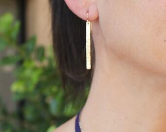 Mia - Long Gold Bar Earrings