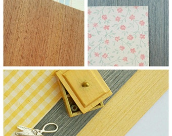 Dollhouse miniature vintage wooden flooring / Dollhouse flooring 1 12 / Scale one inch dollhouse parquet / 1:12 scale wallpaper