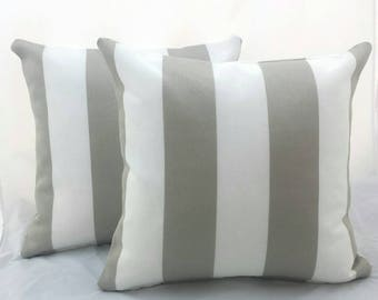 White and Grey Striped Pillow covers. Decorative cushions, Nautical pillows, Classic stripes.