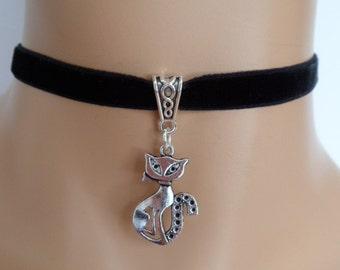 cat choker, black velvet choker, cat necklace, elasticated ribbon
