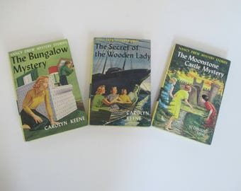 Vintage Nancy Drew Books - Bungalow Mystery - The Secret of the Wooden Lady - The Moonstone Castle Mystery - 1950's 1960's Nancy Drew Books