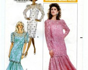 Vintage 80s Butterick 6697 UNCUT Sewing Pattern Women's Formal Lace Dropwaist Dress Bust 34 36 38 Sizes 12 14 16