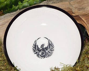 Phoenix Hand-painted Ceramic Bowl, Wicca, Pagan, Witchcraft, Altar, Salt dish, Bird,