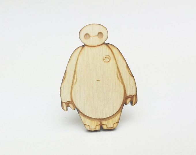 Baymax Pin | Laser Cut Jewelry | Wood Accessories | Wood Pin | Handmade Pin |