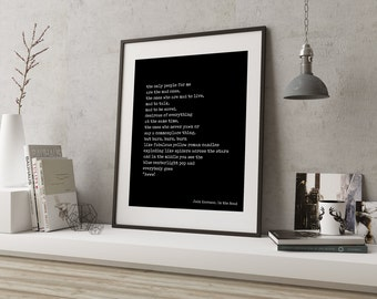 Jack Kerouac Print, On The Road, Mad Ones Print, black and white art decor, literary quote print, beat generation, Jack Kerouac Quote