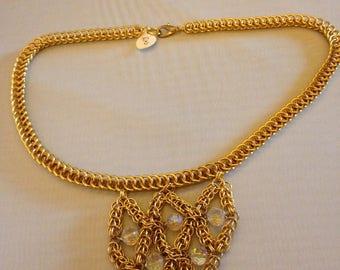 Shimmering Golden Crystal Necklace