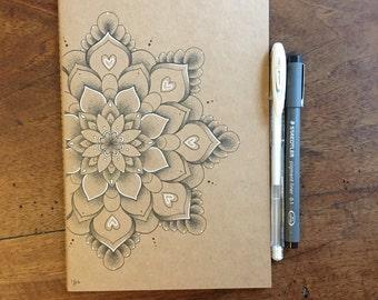 A5 Hand Illustrated Exercise Book/Sketchbook/Journal // Dotwork Mandala // Original Artwork // Unique // Gift Idea // Gift for Adult