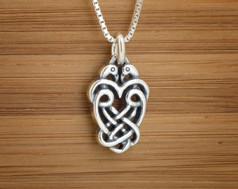 STERLING SILVER Celtic Love Birds My ORIGINAL Charm Necklace or Earrings - Chain Optional
