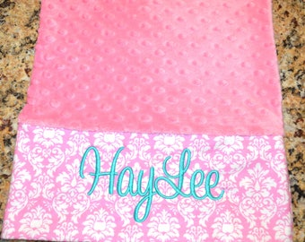 Pink  Dot Minky Pillowcase Travel size or Standard size Monogram/Personalization Available