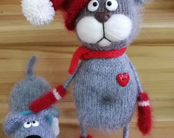 Knitted toy Knitting knitted article cat knitting needles toy of wool handmade handmade toy Gray amigurumi Dog