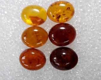 Designer dream! Natural Baltic Amber oval  cabochon size 8 x 10 mm mix lot of 6 pcs Weight  about 7 Carats l5