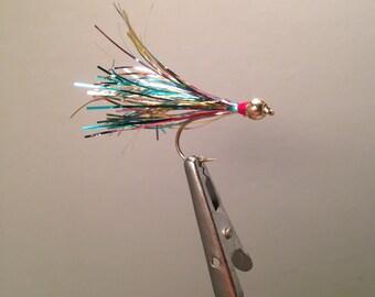 2 Size 8 Rainbow Beadhead Flash Minnow Flies for Fly Fishing