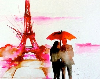 Paris Romantic Travel Giclee Print on Canvas, Couple with Red Umbrella Wanderlust, Romantic Parisian Vacation, Umbrella Art by Lana Moes