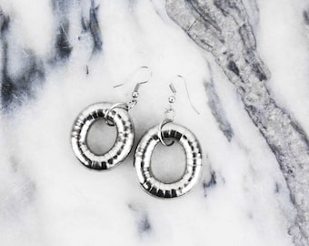 Vintage Silver Round Circle Minimalist Earrings
