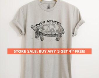 Turtley Awesome T-shirt, Ladies Unisex Crewneck Shirt, Animal T-shirt, Hipster Turtle Shirt, Short & Long Sleeve T-shirt