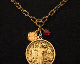 St francis of assisi st clare medal necklace sterling saint francis of assisi pendant necklace catholic religious medal jewelry patron saint animals vintage style paw print red glass heart aloadofball Gallery