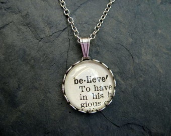 Word Necklace - Dictionary Necklace - Believe - Round Pendant