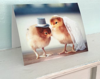 Chickens Wedding Top Hat Veil Baby Animal Marriage Card Chicks in Hats (1) #77