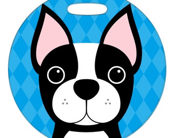 Luggage Tag - Boston Terrier - Round Plastic Bag Tag