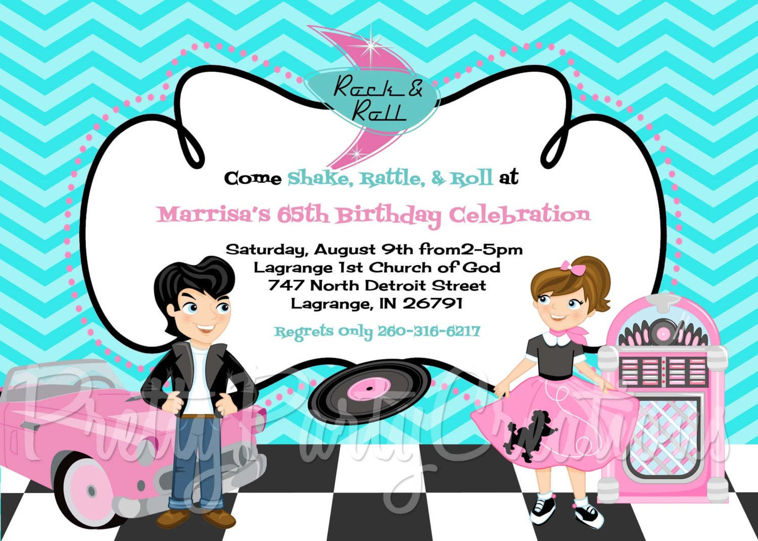 50s SOCK HOP invitation You Print