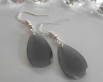 Grey Teardrop bean earrings