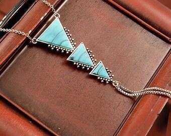 Triple Triangle Necklace, Vintage Necklace, Vintage Jewelry