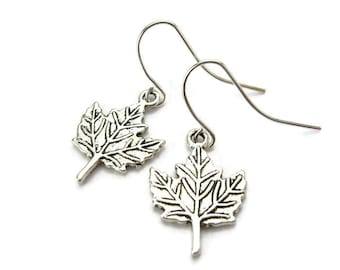 MAPLE LEAF Earrings, 925 Silver Kidney Wires, Northern Maple Tree, Fall Foliage New York - Vermont - Maine (Jewelry), Handmade Gift Under 15
