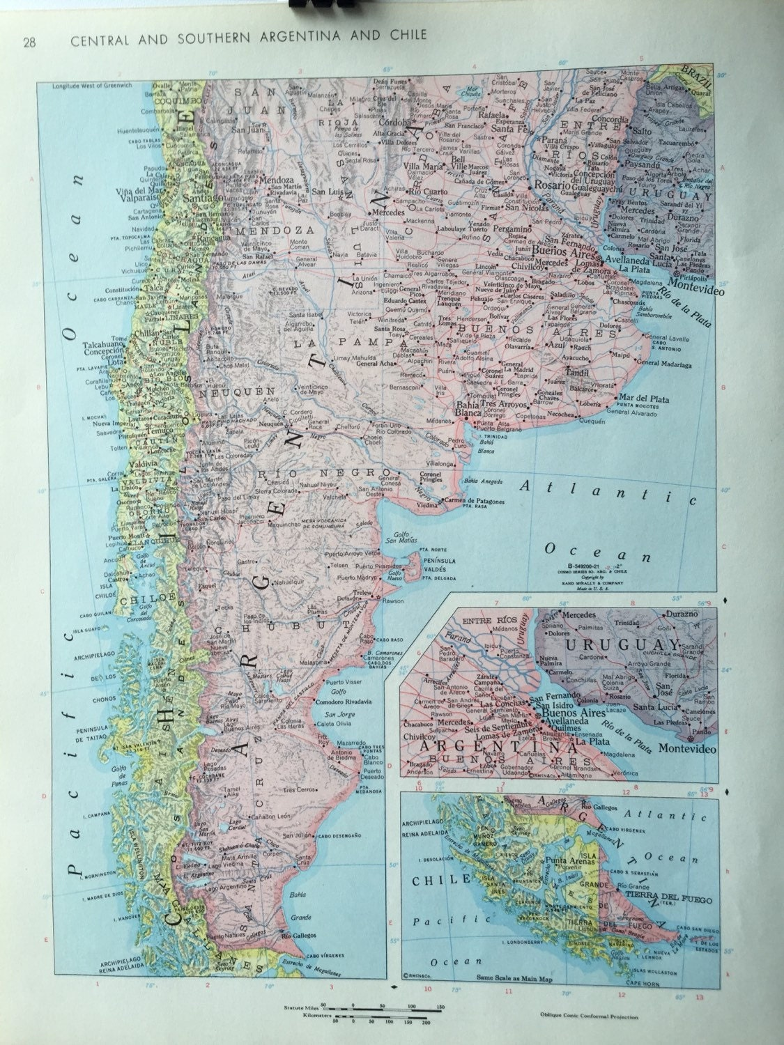 Vintage 1967 rand mcnally world atlas map page south america on one 500 gumiabroncs Gallery