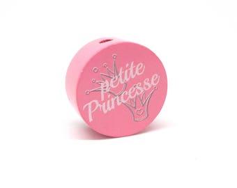 Little Princess wooden bead - pink