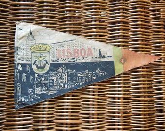 Portuguese Travel Pennant, Vintage Souvenir Flag from Lisbon Portugal, Travel Memorabilia, Flags, Bunting, Decorative, Advertising, Lisboa
