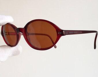 ARMANI vintage SUNGLASSES small oval red orange lens round 350 supreme rare emporio giorgio